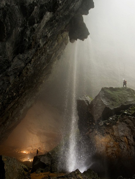 A cascading waterfall in Hang Son Doong.